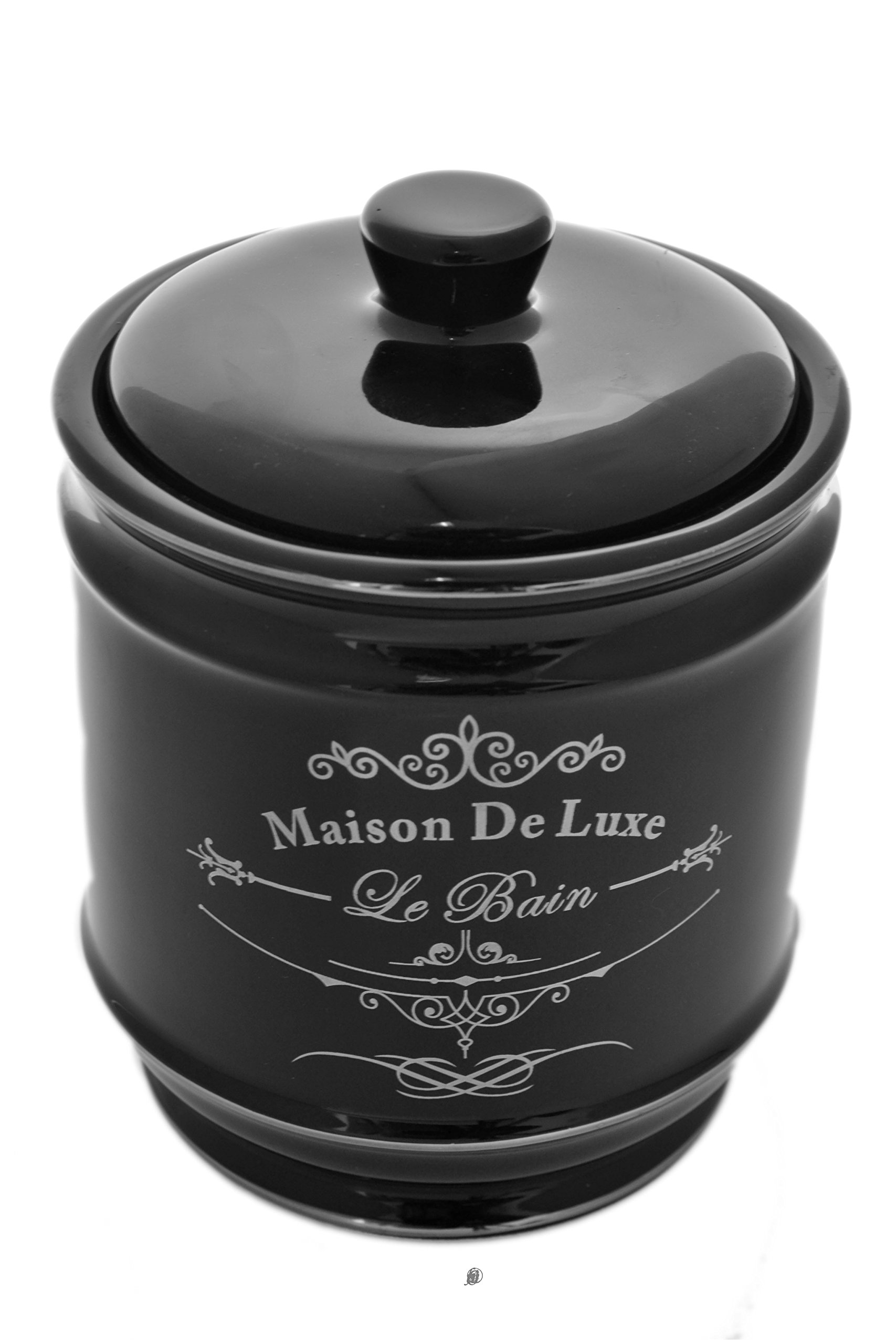 American Chateau Black Silver French Paris Maison de Luxe Le Bain Bathroom Cotton Dish Urn Jar