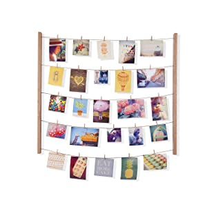 Umbra Hangit Photo Display - DIY Picture Frames Collage Set Includes Picture Hanging Wire Twine Cords, Natural Wood Wall Mounts and Clothespin Clips for Hanging Photos, Prints and Artwork (Natural)