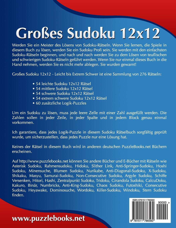 Großes Sudoku 12x12 - Leicht bis Extrem Schwer - Band 15-276 Rätsel ...