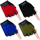 Cooraby 4 Pairs Kids Sports Cycling Gloves Half Finger Mountain Bike Gloves Non-Slip Cycling Gloves for Cycling Biking…