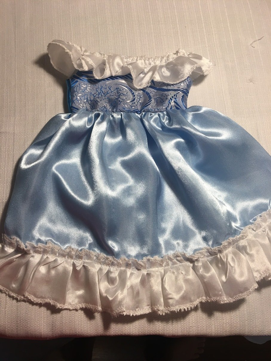Fits 16 17 18 Cabbage Patch Kids Doll Clothes Princess Dress Off the Shoulder Blue White Handmade NO DOLL