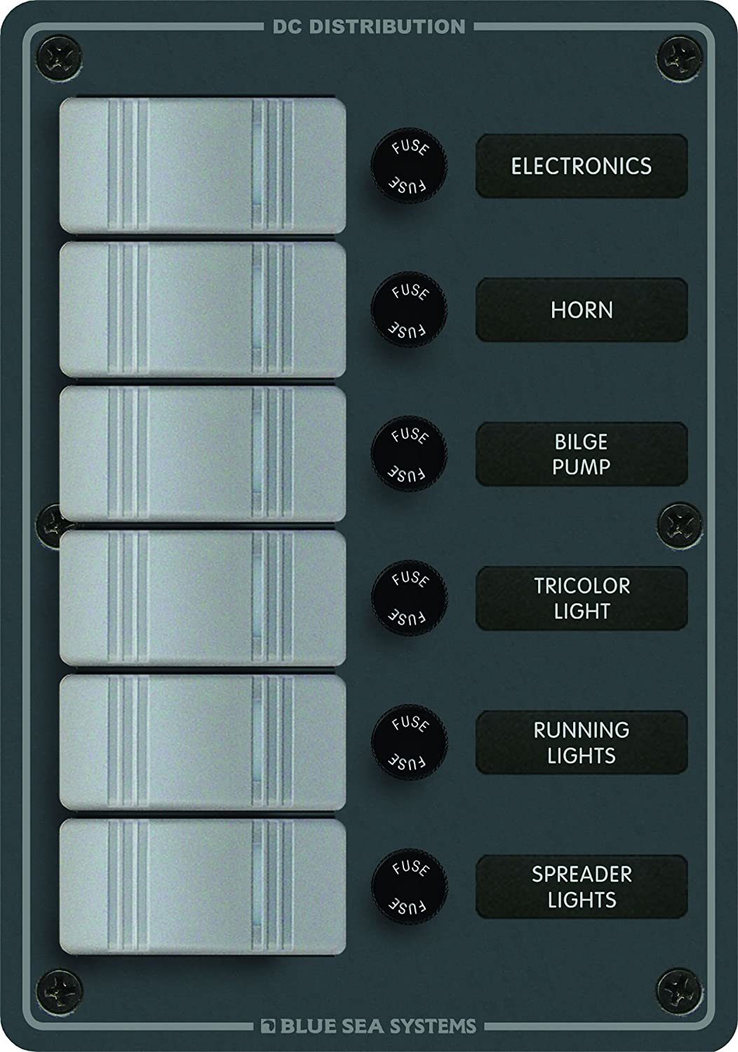 Blue Sea Systems 8053, 6 Position Contura Switch Panel with Fuses, Slate Gray Seawide Marine