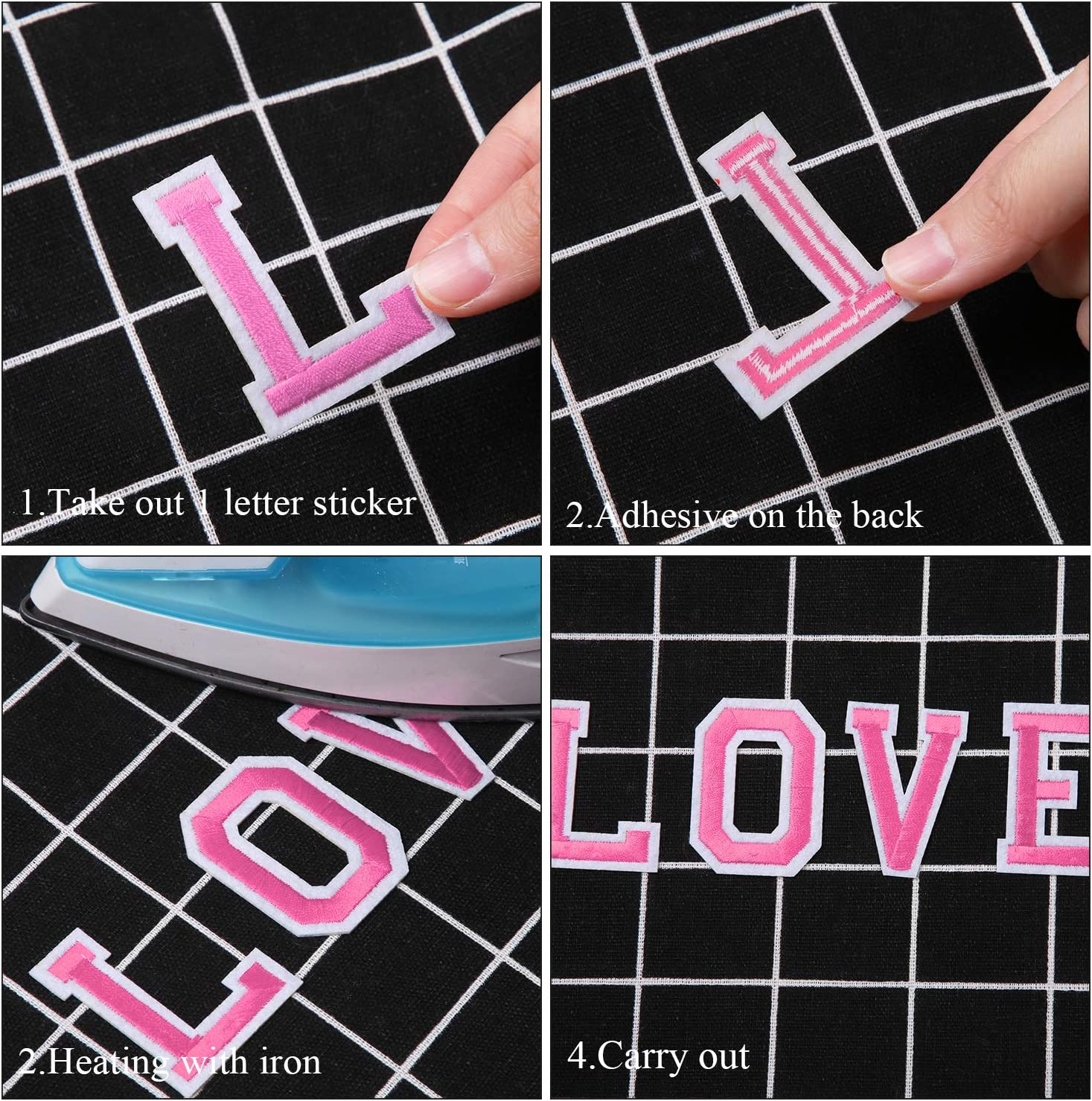 URATOT 52 Pieces Iron on Letter Patches Letter Iron on Patches Sew on Embroidered Patches with Embroidered for Shoes Hat Bag Clothing