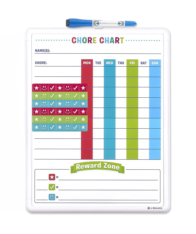 U Brands 255U00-04 Contempo Magnetic Dry Erase Chore Chart, 11 X 14-Inch, White Frame