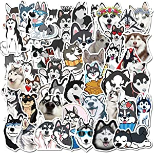 Husky Stickers Animal Dog Stickers for Kids and Teens 50Pcs Variety Vinyl Waterproof Car Sticker Motorcycle Bicycle Luggage Decal Graffiti Patches Skateboard Stickers for Laptop Stickers(Husky)