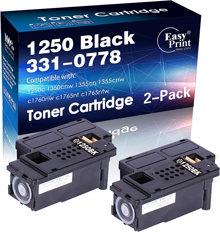 EASYPRINT 2-Pack Black of Compatible 1250BK Toner Cartridges 810WH Work for Dell 1250c C1760nw C1765nfw 1350cnw 1355cn 1355cnw Printer (Total 2-Black)