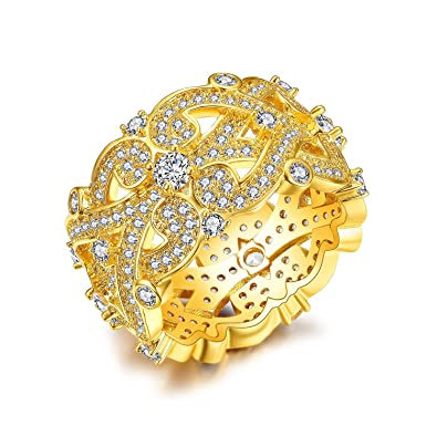 11e00b3c634 NEWBARK Wide Vintage Style Gorgeous Women Jewelry Statement Rings 18k Gold  Plated Pave AAA Round Cut