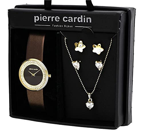 Pierre Cardin Damen Armbanduhr Sets braun PJW1011
