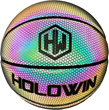 Hoop Gifts Toys for Kids and Boys Light Up Camera Flash Glow in The Dark Basketballs Perfect Toy for Night Game Mens 29.5 in HoloGear HoloHoops Holographic Glowing Reflective Basketball