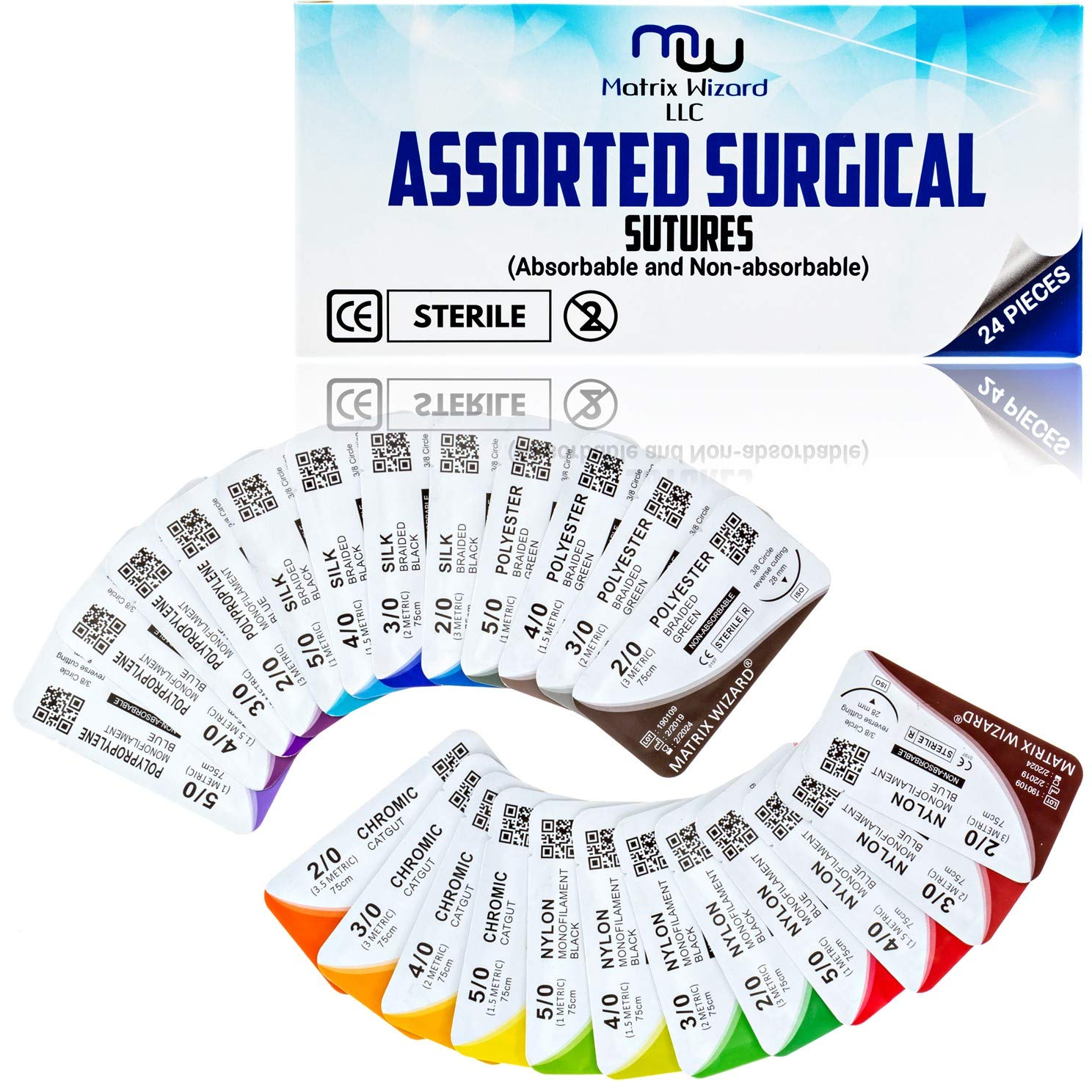 Mixed Sutures Thread with Needle (Absorbable: Chromic Catgut; Non-Absorbable: Nylon, Silk, Polyester, Polypropylene) - Surgical Wound Practice Kit, Emergency First Aid Demo (2-0, 3-0, 4-0, 5-0) 24Pk by Matrix Wizard (Image #6)