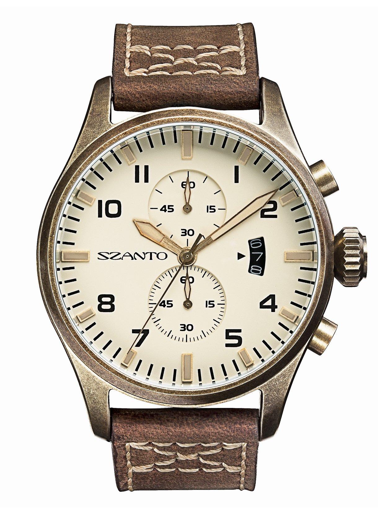 Szanto Men's SZ 4002 Szanto 4000 Series Analog Display Japanese Quartz Brown Watch