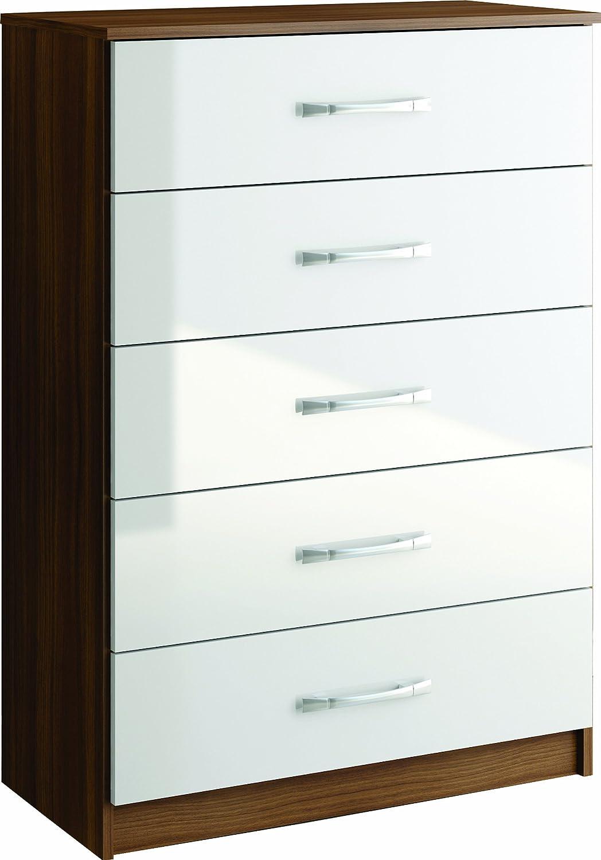 birlea lynx 5 drawer chest high gloss walnut and white amazon co