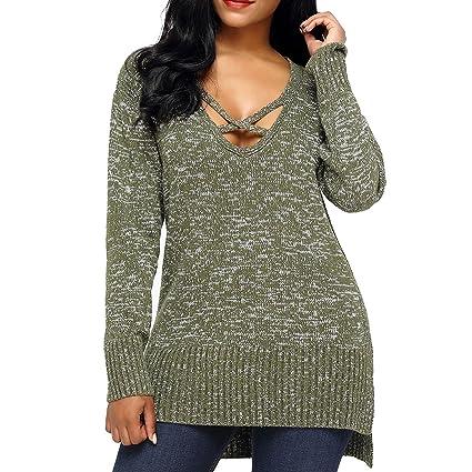 da44ac171d0 Amazon.com  Luxspire Women s Deep V-Neck Long Sleeve Pullover Knit ...