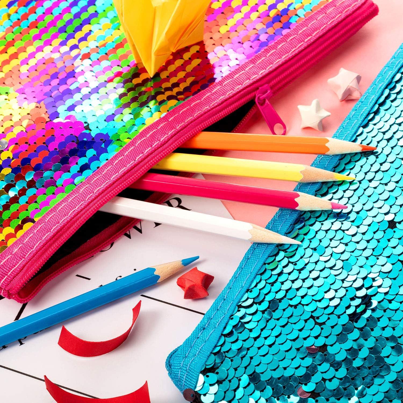 Femmes 4 Pi/èces Trousse R/éversible Paillettes Trousse /à Crayons Sir/ène Paillettes Sac Cosm/étique Paillettes Porte-Monnaie Organisateur de Maquillage pour Filles