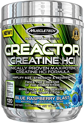 MuscleTech Creactor, Max Potency Creatine Powder, Micronized Creatine and Creatine HCl, Blue Raspberry, 120 Servings 264g