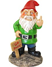 BigMouth Inc Go Away Garden Gnome, Funny Lawn Gnome Statue, Naughty Gnome Garden Decoration