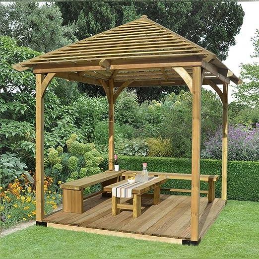 Comedor de madera de estructura de veneciano Pavilion Pergola con terrazas jardín al aire libre: Amazon.es: Jardín