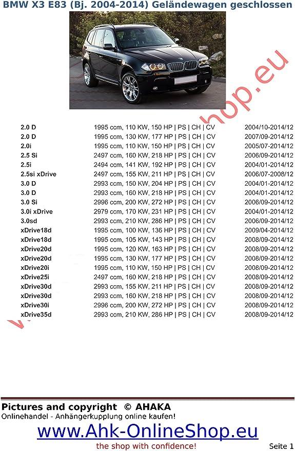 Attelage démontable BMW X3 E83 2004//2010 faisceau universel 7 broches