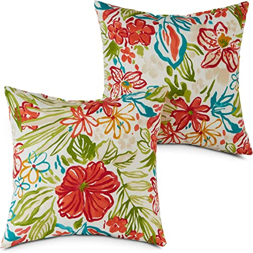 South Pine Porch AM4803S2-BREEZE Breeze Floral Outdoor 17-inch Square Accent Pillow