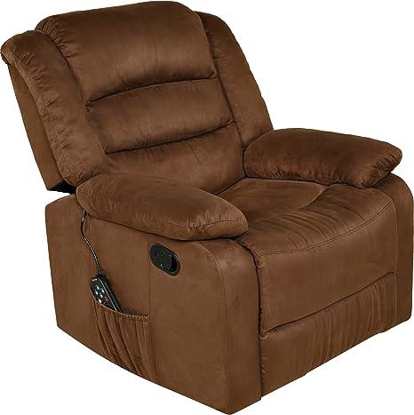 Amazon Com Relaxzen Longstreet Rocker Recliner With Massage Heat And Dual Usb Ports Brown Furniture Decor