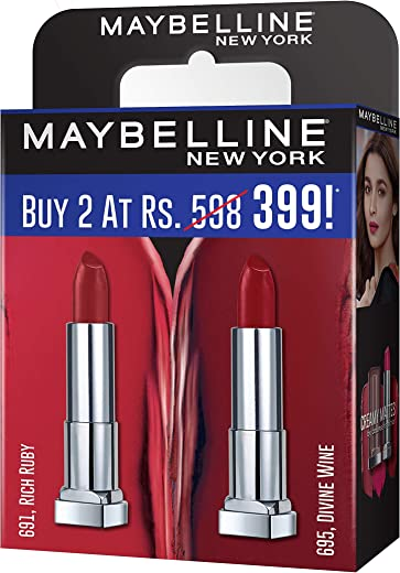 Maybelline Creamy Matte Rich Ruby & Divine Wine (Pack of 2)
