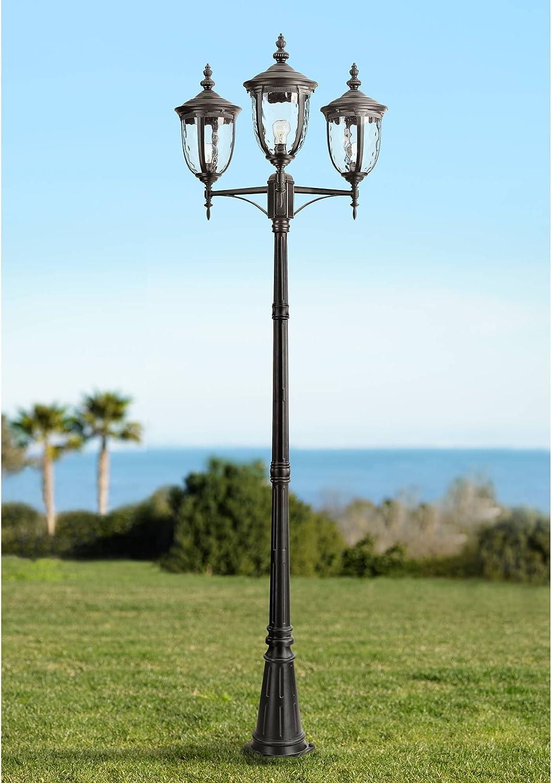 "Bellagio Traditional Outdoor Post Light European Street Lantern 3 Light Texturized Black 96"" Clear Hammered Glass for Exterior House Garden Yard Driveway Walkway - John Timberland"