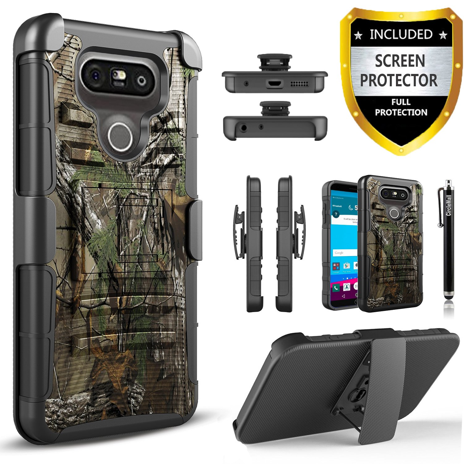 LG G5 Case, Dual Layers [Combo Holster] Case And Built-In Kickstand Bundled with [Premium HD Screen Protector] Hybird Shockproof And Circlemalls Stylus Pen (Camo)