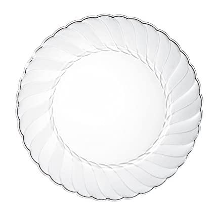 Amazon.com: Premium Clear Plastic Plates By Alpha & Sigma - 50pcs 9 ...