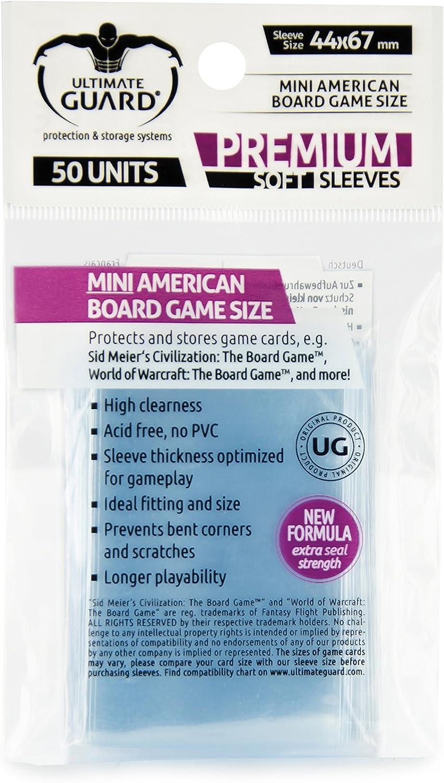 Ultimate Guard 10280 Premium Sleeves Fundas de Cartas del Juego de Mesa Mini American (50)
