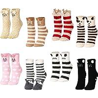 Geyoga 8 Pairs Women Fuzzy Socks Non-Slip Cozy Microfiber Winter Warm Fluffy Soft Cute Animal Fuzzy Home Slipper Socks