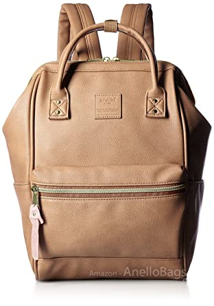 d866cff855e4 Japan Anello Backpack Unisex PINK BEIGE MINI SMALL PU LEATHER Rucksack Bag  Campus