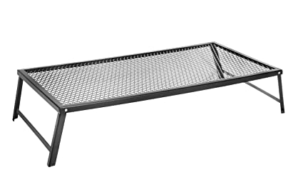 Bruntmor Large Portable Campfire Grill Stand with Folding Legs, 22 in x 12 in, for Use Over Open Fire