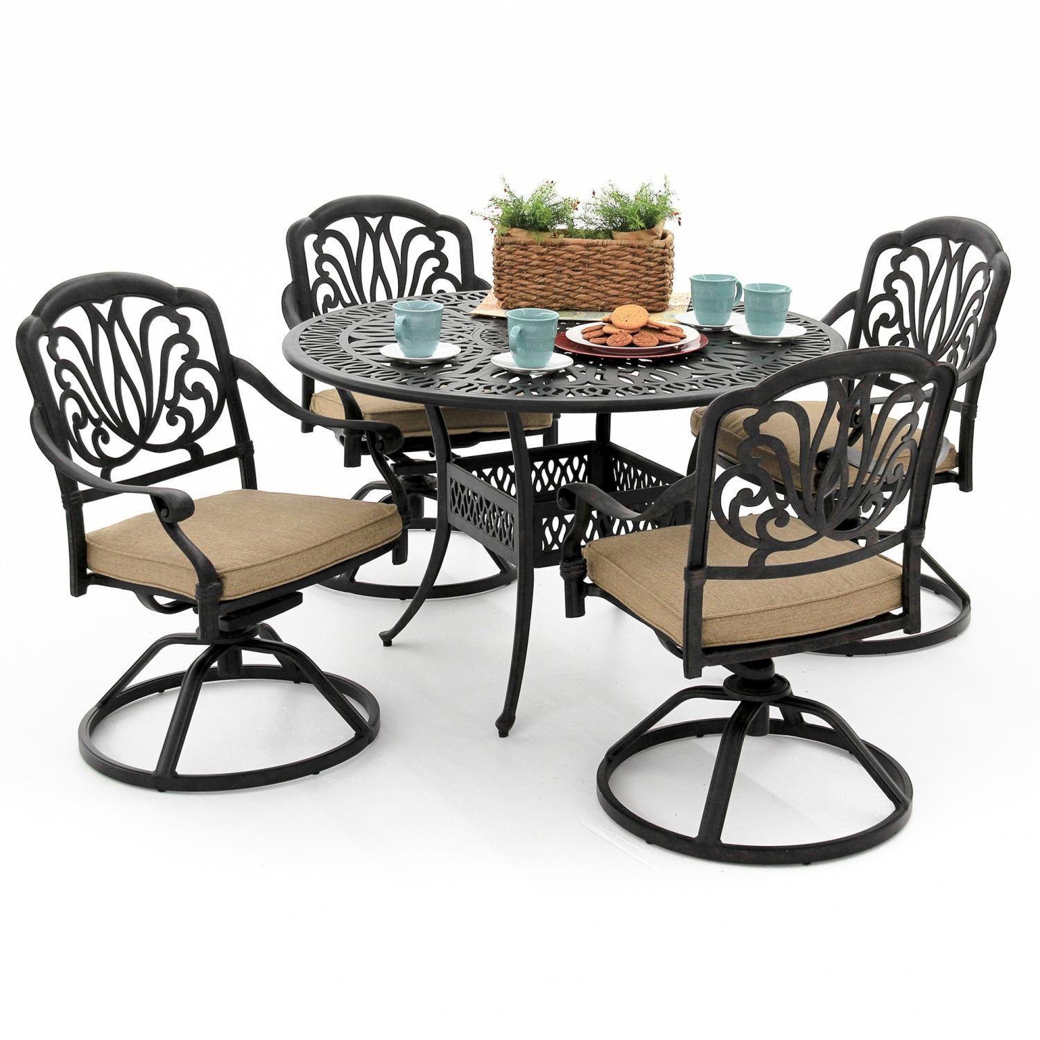 Amazon Rosedown 4 Person Cast Aluminum Patio Dining Set With