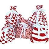 Reusable Fabric Gift Bags (Standard Set, Red) Set of 5 bags, three 12x16 inch and two 8x10 in bags