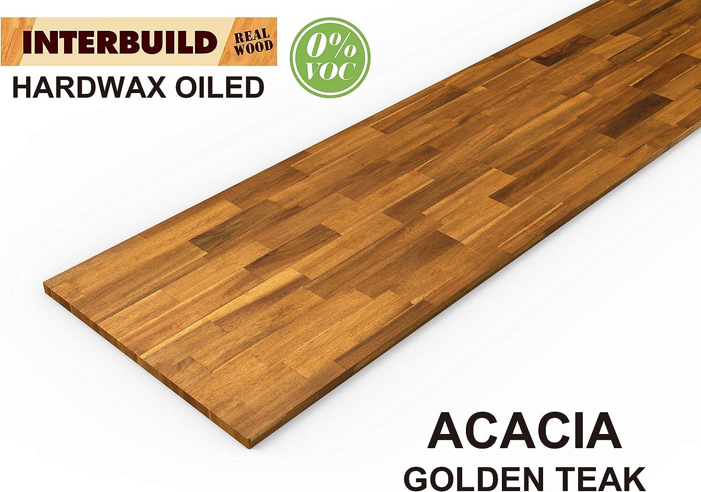 Interbuild Encimeras de Cocina de Madera Maciza de Acacia, 2200x635x26 mm, Teca Dorada, 1 Pieza/Paquete