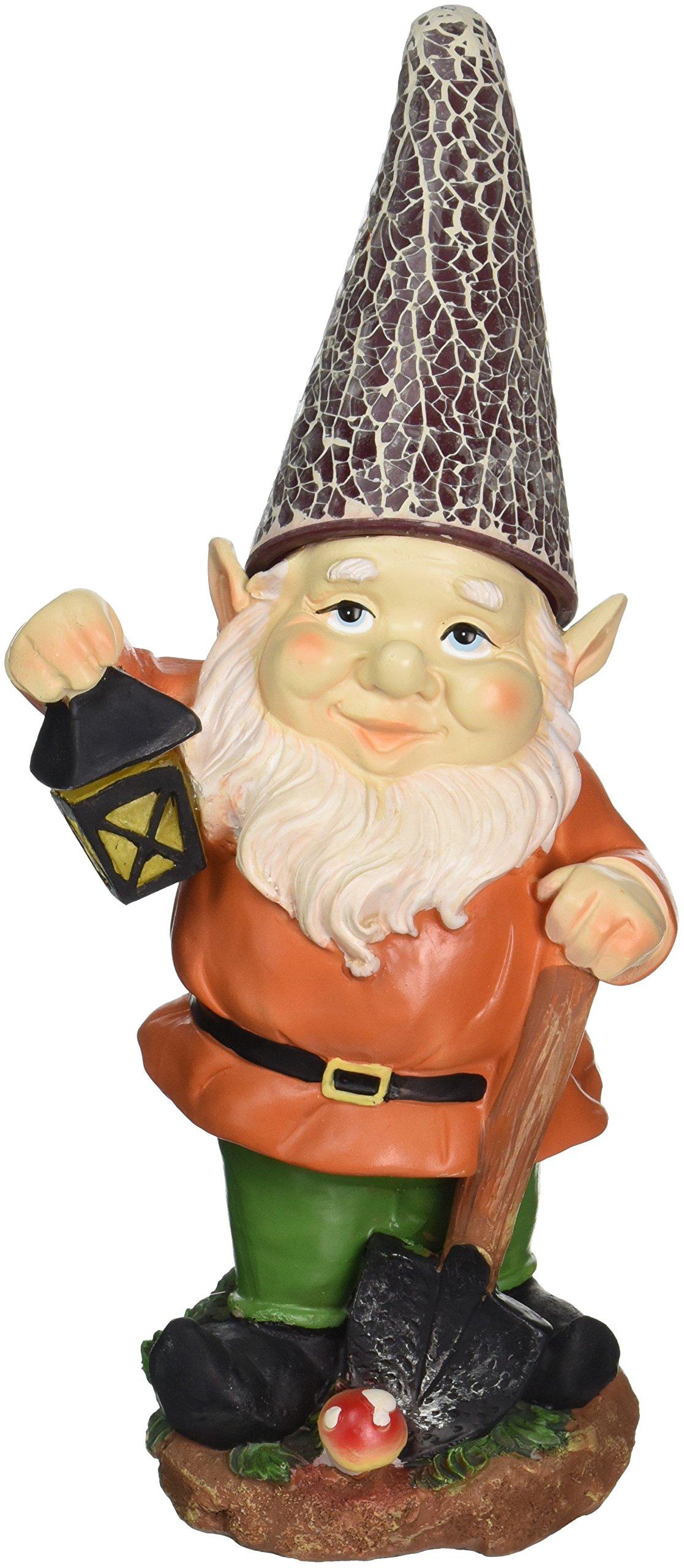Gnome with Lantern Solar Garden Statue