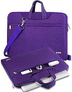 """V Voova Laptop Case 14 15 15.6 inch Laptop Messenger Bag With Shoulder Strap Compatible for 16"""" NewMacBookPro,SurfaceLaptop3,AcerAspire5,HP 15.6,XPS 15 Chromebook Sleeve for Women Lady,Violet"""