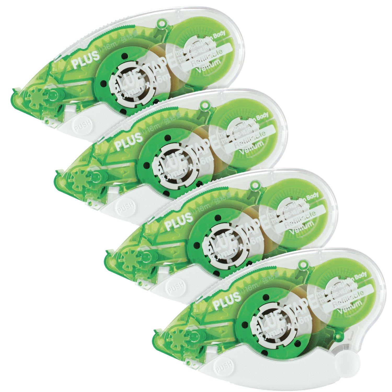 Plus Corporation Glue Tape TG-610BC-VE - Vellum Adhesive, 4-Pack (60388) by Plus