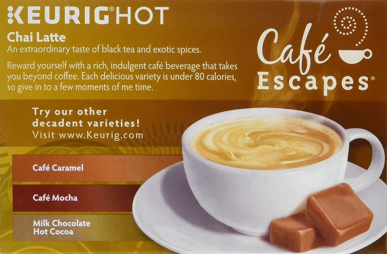 Café Escapes Chai Latte, K-Cup porción para Keurig Brewers ...