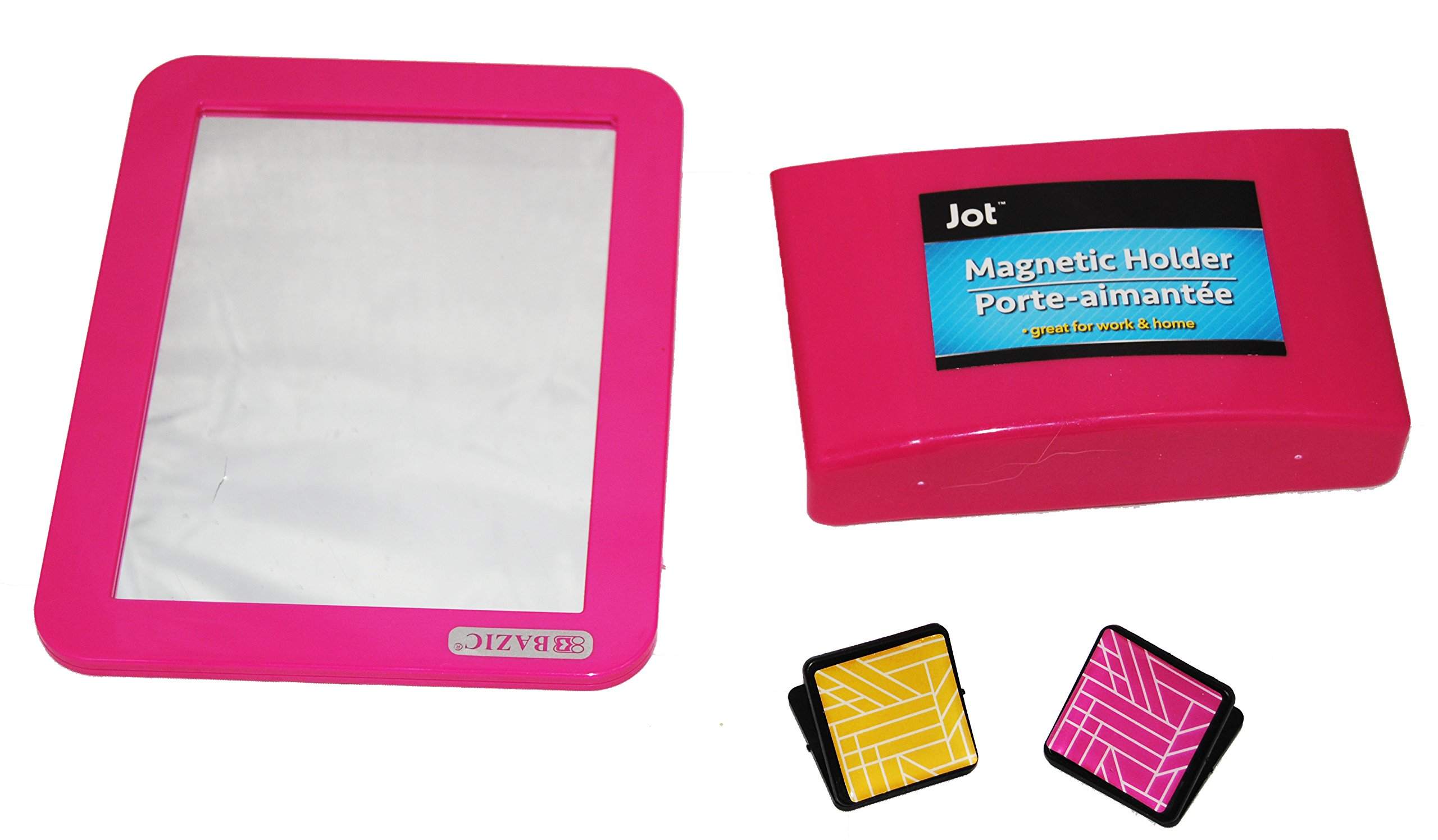 Fashion Magnetic Locker Mirror and Pencil Organizer (Pink)