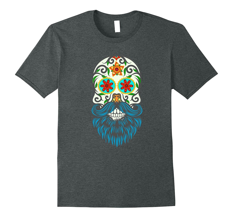Day of the Dead Sugar Skull Beard T-shirt-Veotee