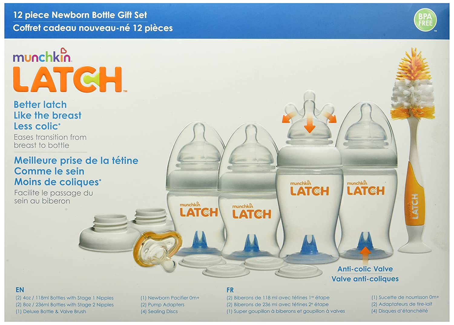 Amazon.com : Munchkin Latch Newborn Bottle 12 Piece Gift Set : Baby