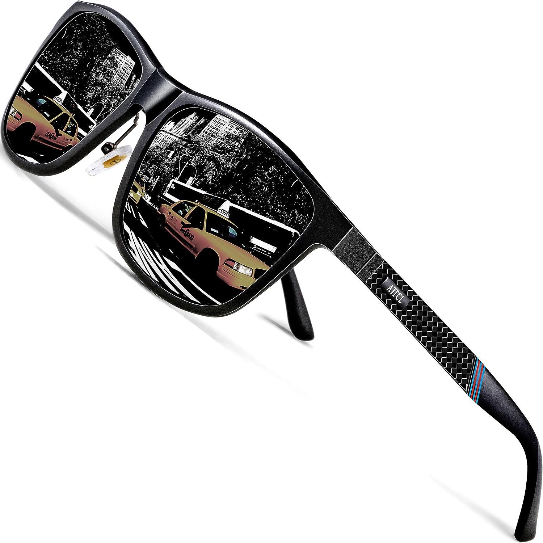 ATTCL Gafas De Sol Hombre Polarizadas Retro Estructura De metal Al-Mg