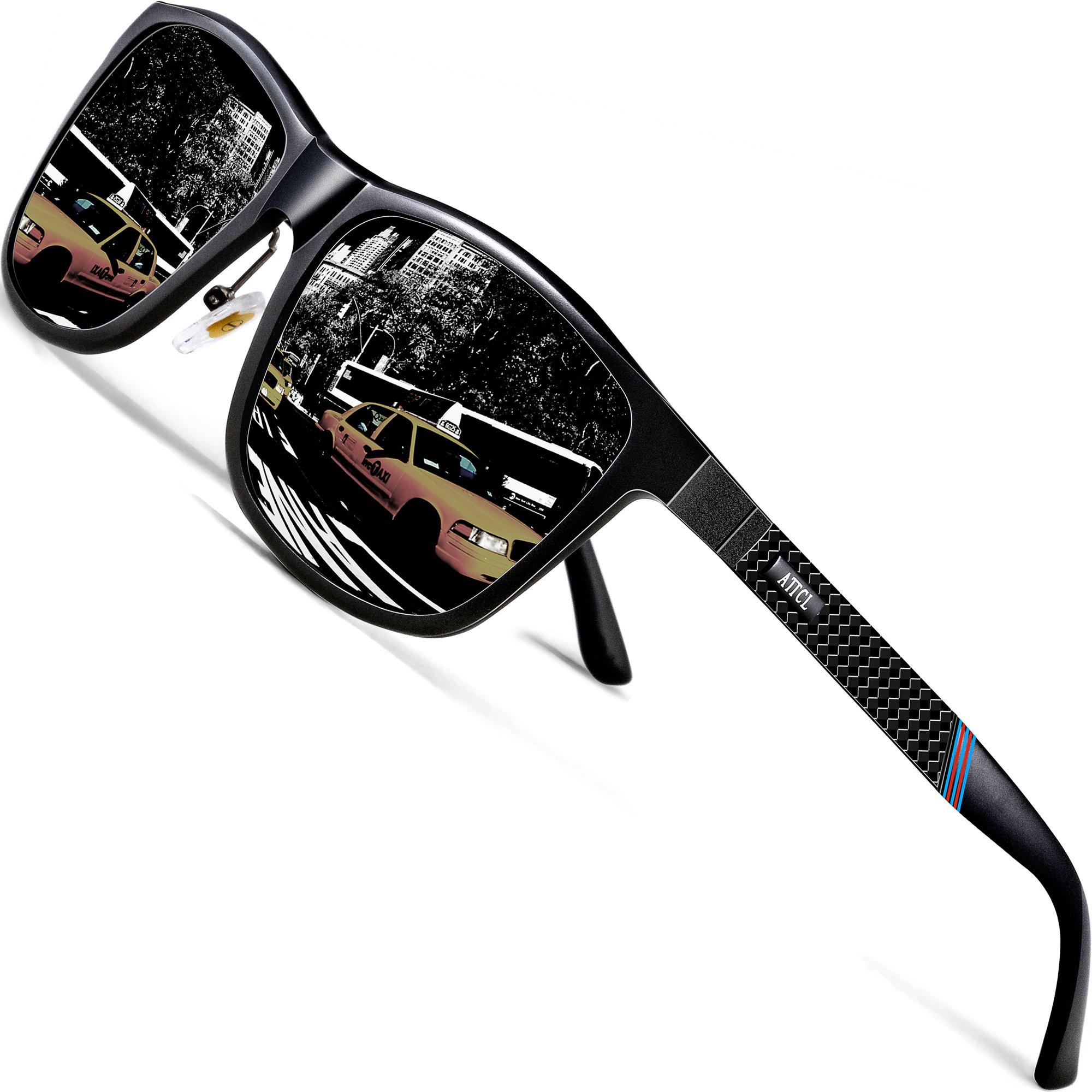 ATTCL Men's Driving Polarized Sunglasses Al-Mg Metal Frame Ultra Light 858-8 Black by ATTCL