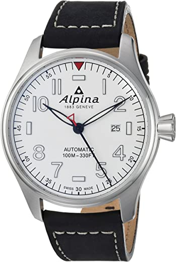 Alpina Men's Startimer Stainless Steel Swiss-Automatic Watch with Leather Strap, Black, 22 (Model: AL-525S4S6)