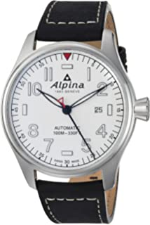 Alpina Mens Startimer Stainless Steel Swiss-Automatic Watch with Leather Strap, Black, 22