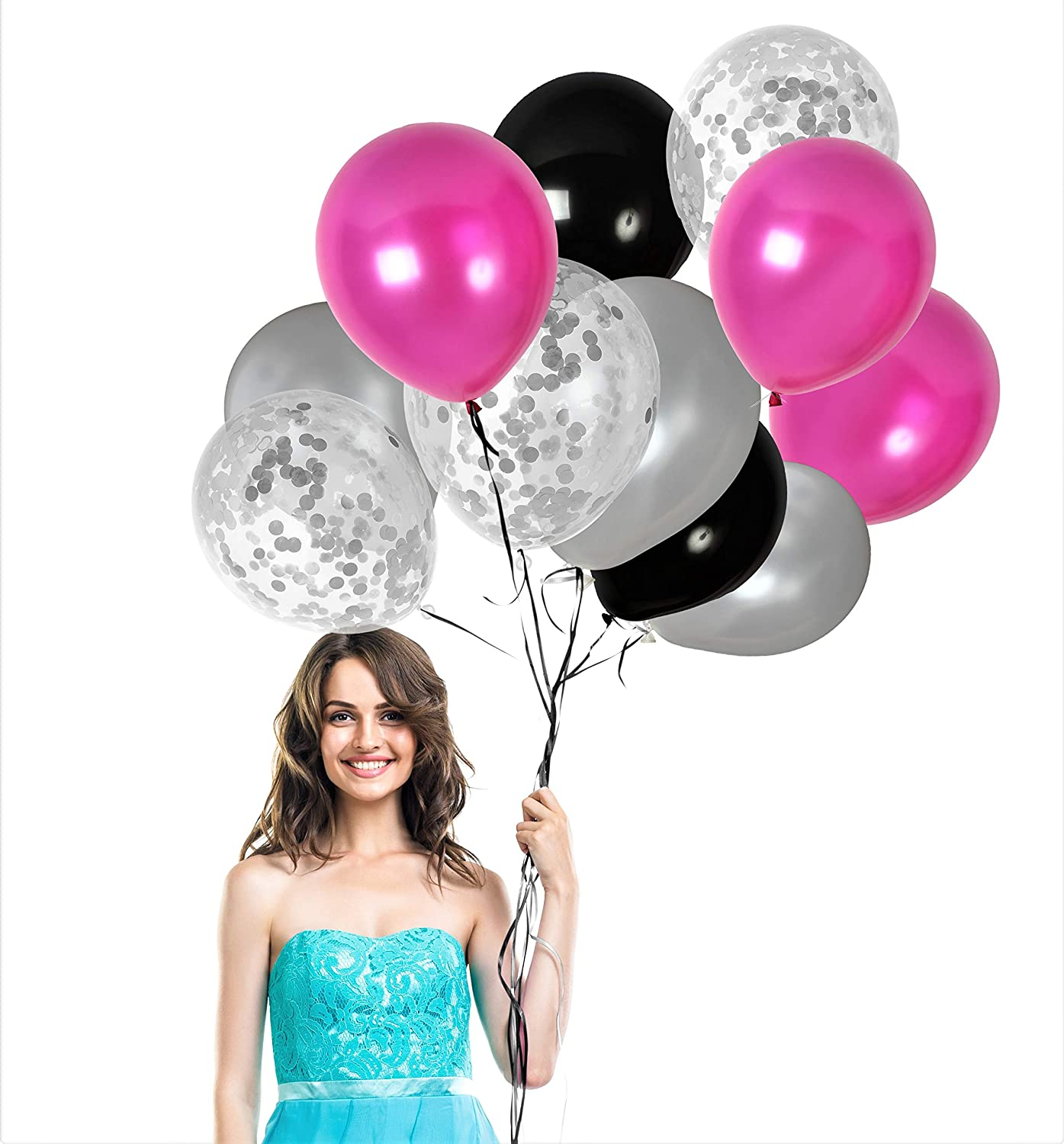 Amazon Com Black Magenta Pink Balloons Silver Confetti Balloons 48 Pack For Birthday Baby Shower Party Bridal Shower Engagement Party Decorations Toys Games