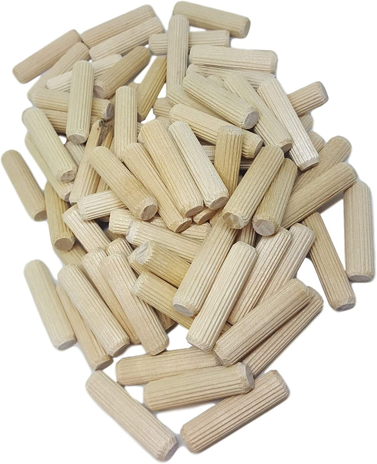 100 Pack 1//2 x 2 Wooden Dowel Pins Wood Kiln Dried Fluted and Beveled Made of Hardwood in U.S.A.