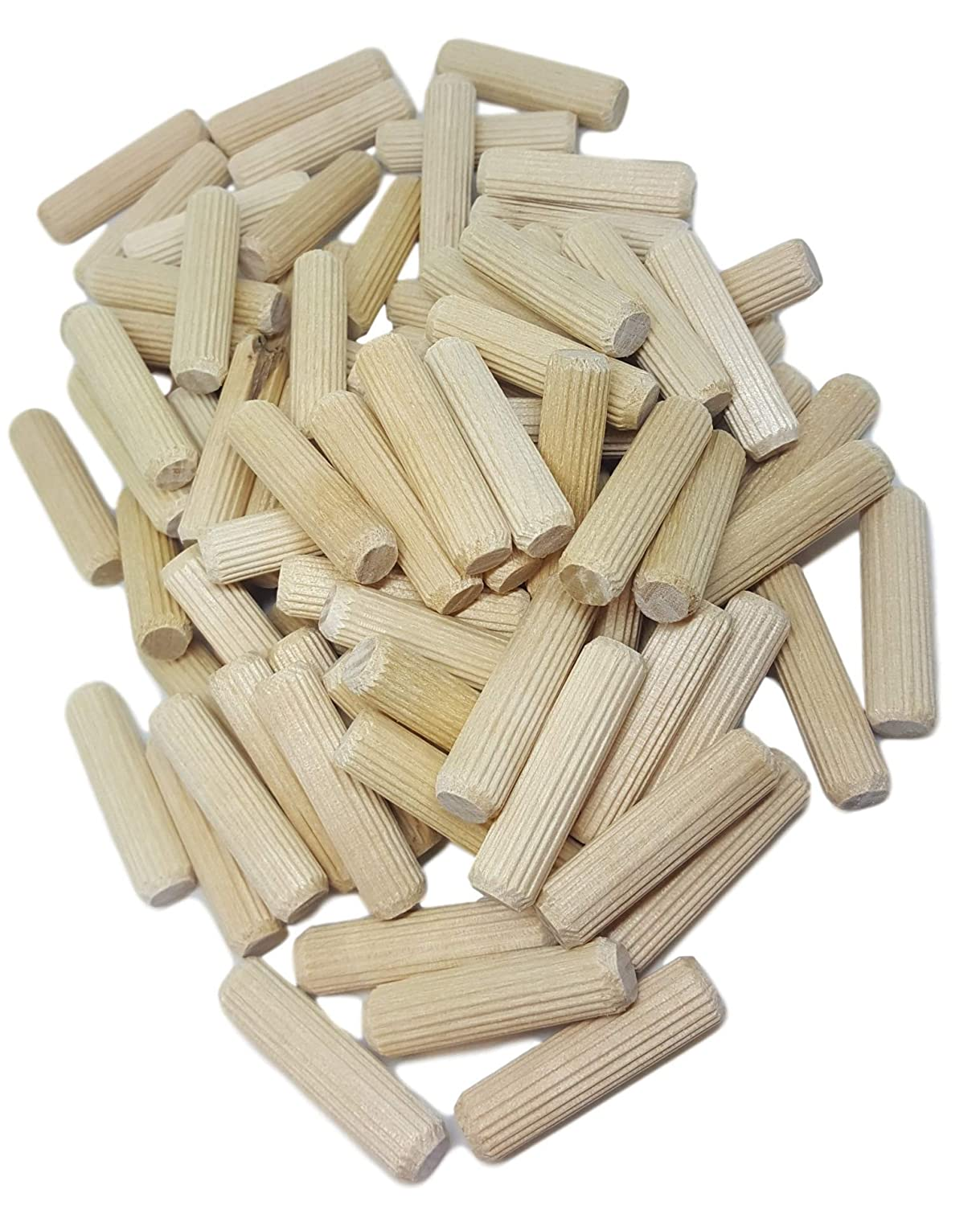 100 Pack 3 8 x 2 Wooden Dowel Pins Wood Kiln Dried Fluted and Beveled made of Hardwood in U.S.A.