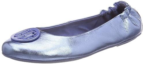 Womens Flexible Metallic Ballerina Ballet Flats, Blue, 4 UK Tommy Hilfiger